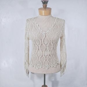 The Limited handknit beige blouse